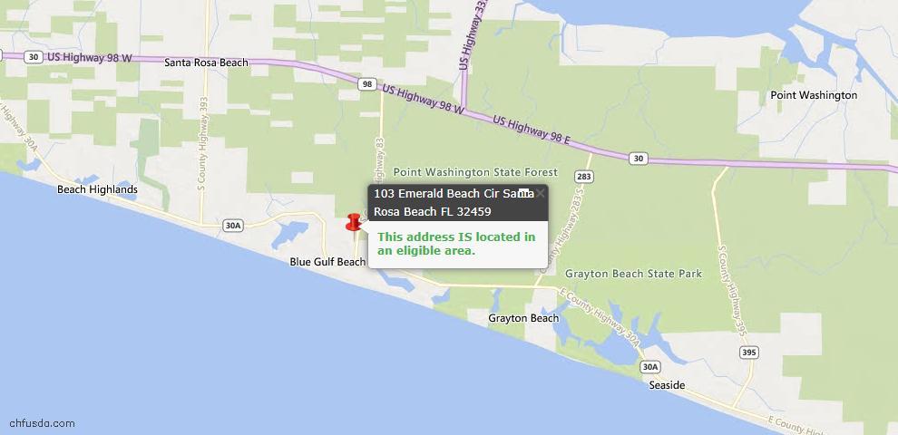 USDA Loan Eligiblity Map - 103 Emerald Beach Cir, Santa Rosa Beach, FL 32459
