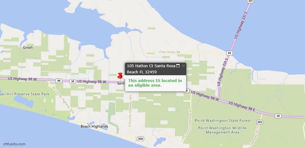 USDA Loan Eligiblity Map - 105 HATTON Ct, Santa Rosa Beach, FL 32459