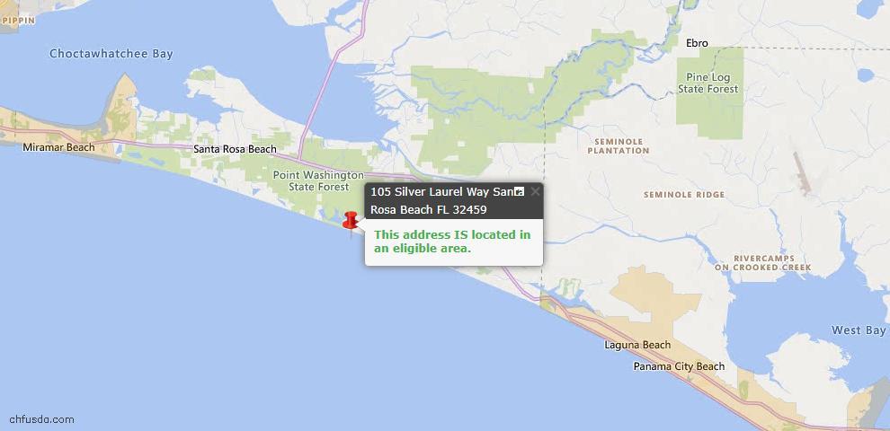 USDA Loan Eligiblity Map - 105 Silver Laurel Way, Santa Rosa Beach, FL 32459