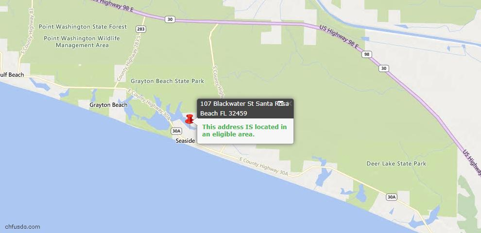 USDA Loan Eligiblity Map - 107 Blackwater St, Santa Rosa Beach, FL 32459