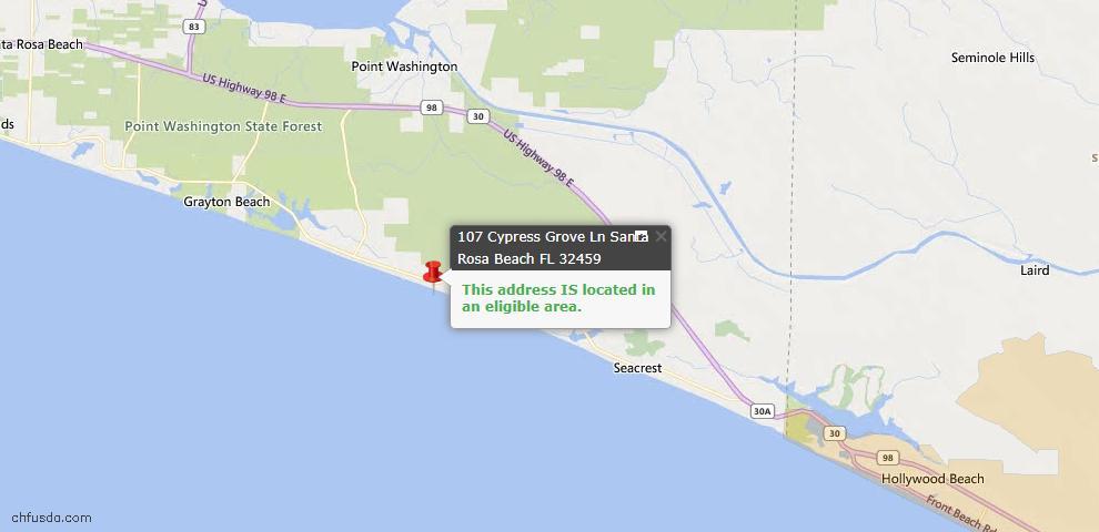 USDA Loan Eligiblity Map - 107 Cypress Grove Ln, Santa Rosa Beach, FL 32459