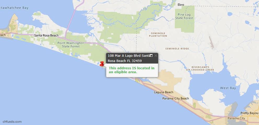USDA Loan Eligiblity Map - 108 Mar-A-Lago Blvd Unit 2, Santa Rosa Beach, FL 32459