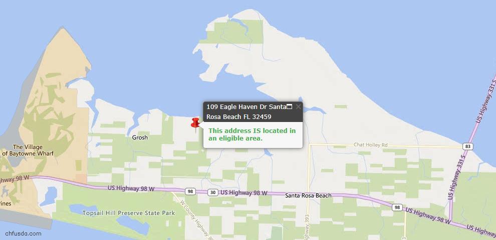 USDA Loan Eligiblity Map - 109 Eagle Haven Dr Dr, Santa Rosa Beach, FL 32459