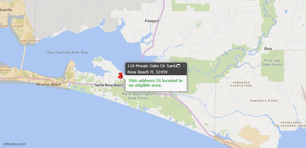 USDA Loan Eligiblity Map - 110 Mosaic Oaks Cir, Santa Rosa Beach, FL 32459