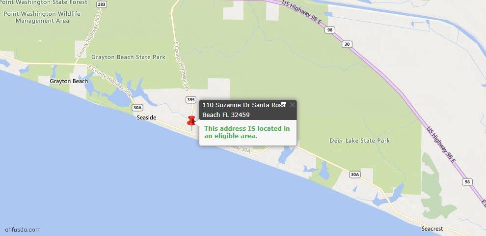 USDA Loan Eligiblity Map - 110 Suzanne Dr, Santa Rosa Beach, FL 32459