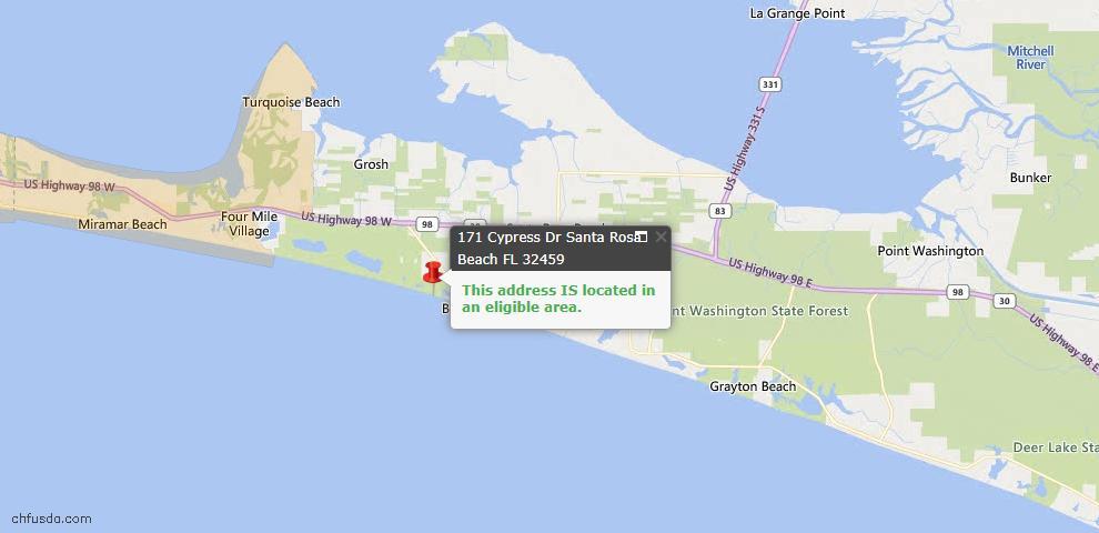 USDA Loan Eligiblity Map - 171 Cypress Dr, Santa Rosa Beach, FL 32459