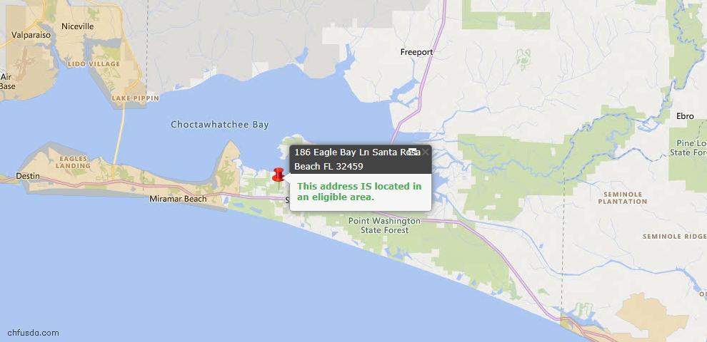 USDA Loan Eligiblity Map - 186 Eagle Bay Ln, Santa Rosa Beach, FL 32459
