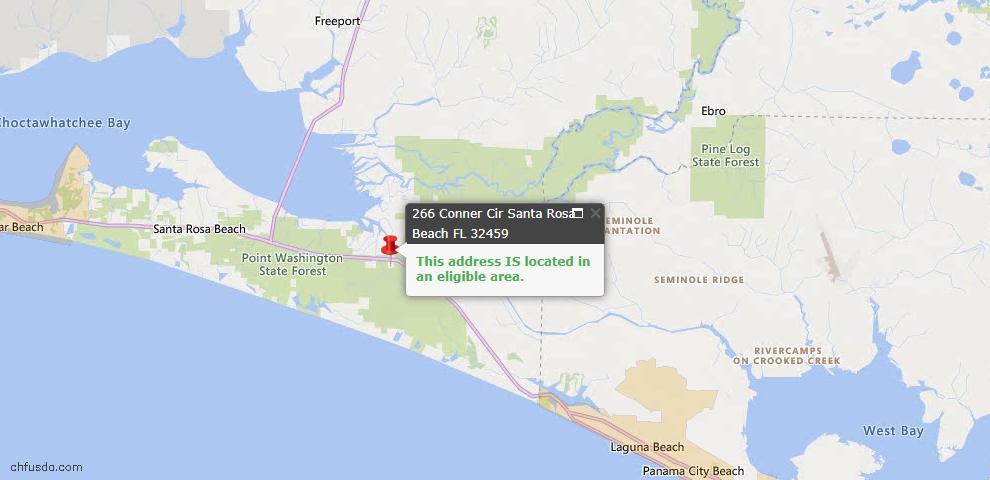 USDA Loan Eligiblity Map - 266 Conner Cir Lot 144, Santa Rosa Beach, FL 32459
