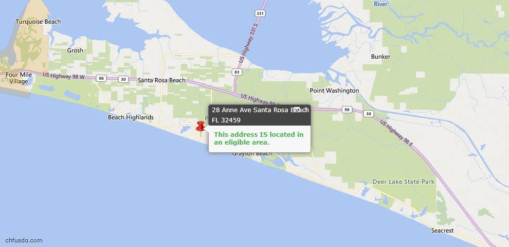 USDA Loan Eligiblity Map - 28 Anne Ave, Santa Rosa Beach, FL 32459