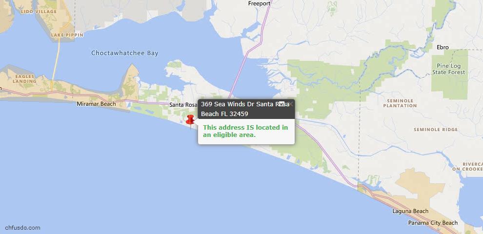 USDA Loan Eligiblity Map - 369 Sea Winds Dr, Santa Rosa Beach, FL 32459