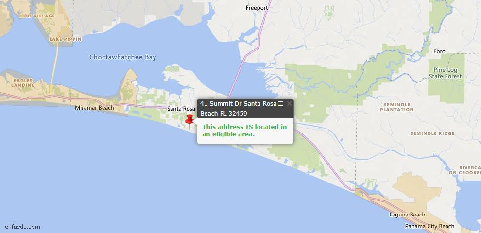 USDA Loan Eligiblity Map - 41 Summit Dr, Santa Rosa Beach, FL 32459