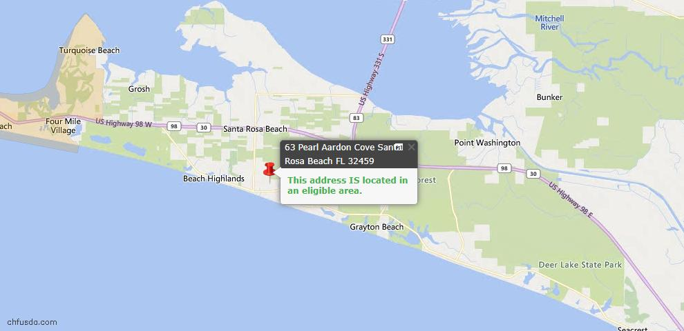 USDA Loan Eligiblity Map - 63 Pearl Aardon Cv, Santa Rosa Beach, FL 32459