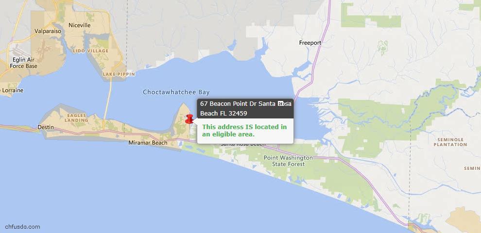 USDA Loan Eligiblity Map - 67 Beacon Point Dr, Santa Rosa Beach, FL 32459