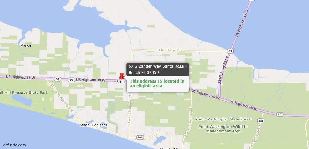 USDA Loan Eligiblity Map - 67 S Zander Way, Santa Rosa Beach, FL 32459