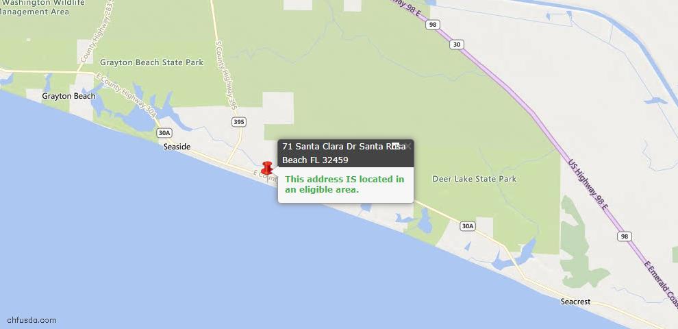 USDA Loan Eligiblity Map - 71 Santa Clara Dr, Santa Rosa Beach, FL 32459