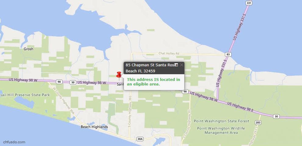 USDA Loan Eligiblity Maps From - Santa Rosa Beach, FL