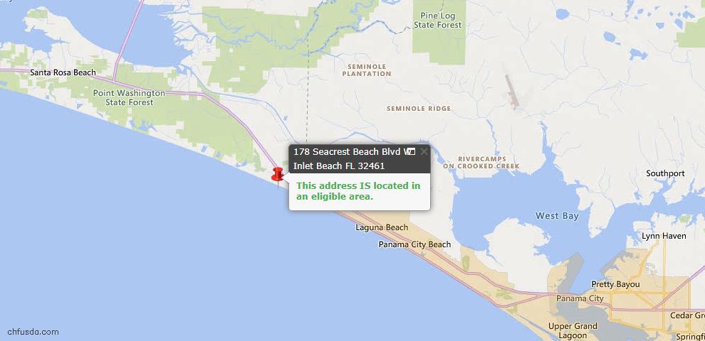 USDA Loan Eligiblity Map - 178 W Seacrest Beach Blvd, Inlet Beach, FL 32461