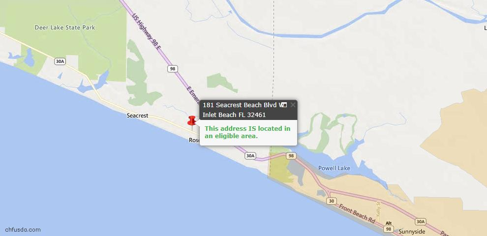USDA Loan Eligiblity Maps From - Inlet Beach, FL