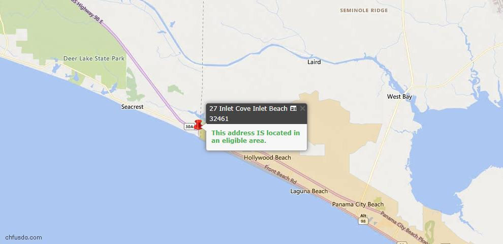 USDA Loan Eligiblity Map - 27 Inlet Cv, Inlet Beach, FL 32461