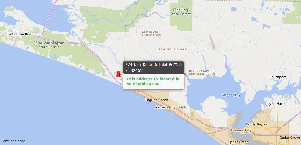 USDA Loan Eligiblity Map - 274 Jack Knife Dr, Watersound, FL 32461