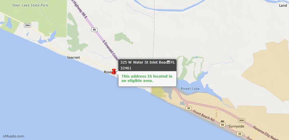 USDA Loan Eligiblity Map - 325 W Water St, Inlet Beach, FL 32461