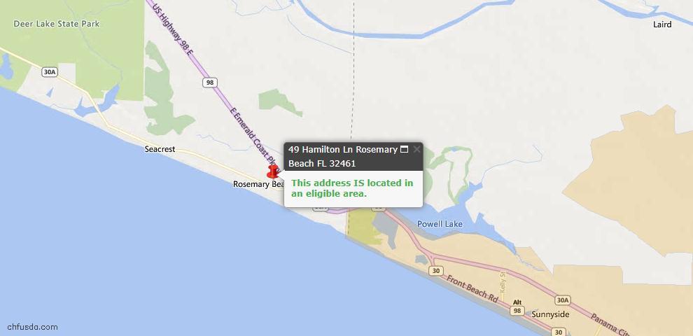 USDA Loan Eligiblity Maps From - Rosemary Beach, FL