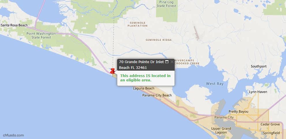 USDA Loan Eligiblity Map - 70 Grande Pointe Dr, Inlet Beach, FL 32461