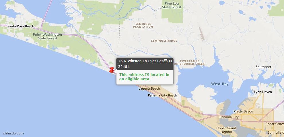 USDA Loan Eligiblity Map - 76 N Winston Ln, Inlet Beach, FL 32461