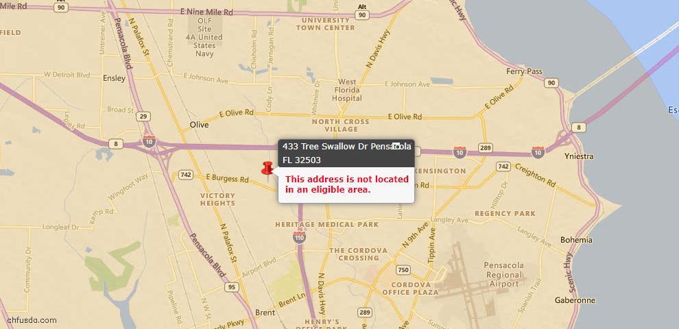 USDA Loan Eligiblity Maps From - Pensacola, FL