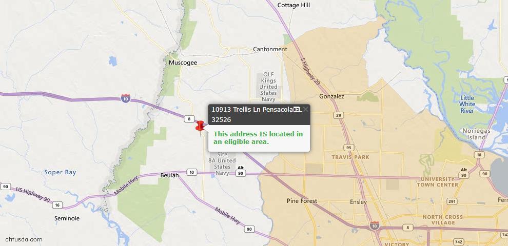 USDA Loan Eligiblity Map - 10913 Trellis Ln, Pensacola, FL 32526
