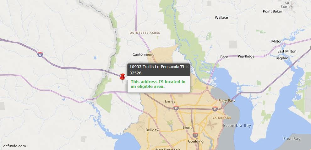 USDA Loan Eligiblity Map - 10933 Trellis Ln, Pensacola, FL 32526