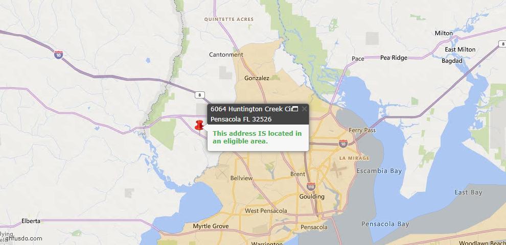 USDA Loan Eligiblity Map - 6064 Huntington Creek Cir, Pensacola, FL 32526