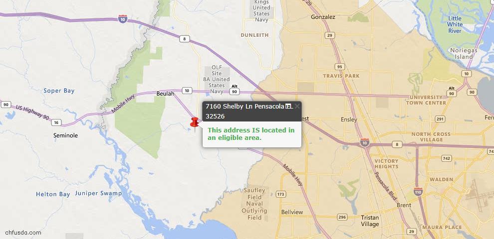 USDA Loan Eligiblity Map - 7160 Shelby Ln, Pensacola, FL 32526
