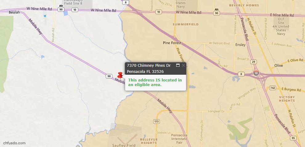 USDA Loan Eligiblity Map - 7370 Chimney Pines Dr, Pensacola, FL 32526