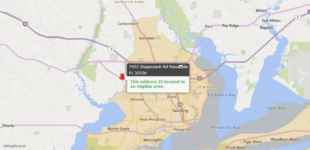 USDA Loan Eligiblity Map - 7422 Stagecoach Rd, Pensacola, FL 32526