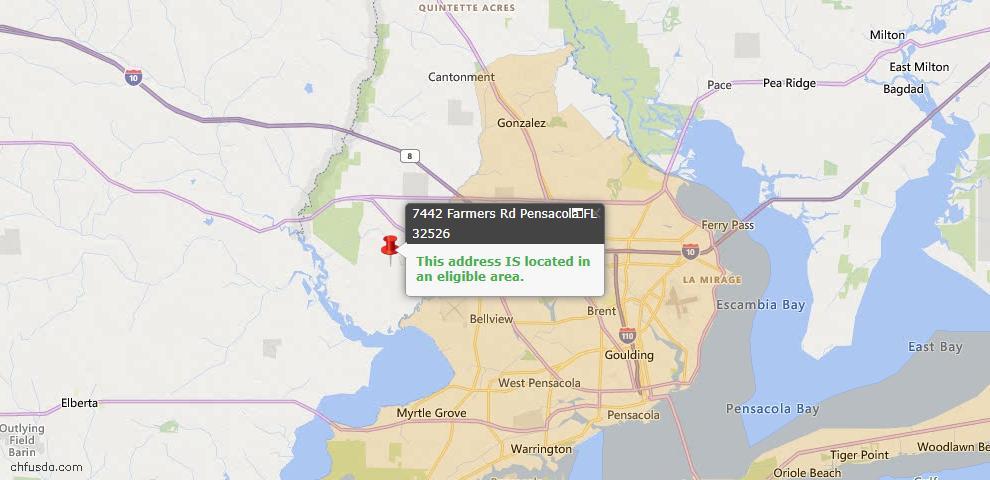 USDA Loan Eligiblity Map - 7442 Farmers Rd, Pensacola, FL 32526