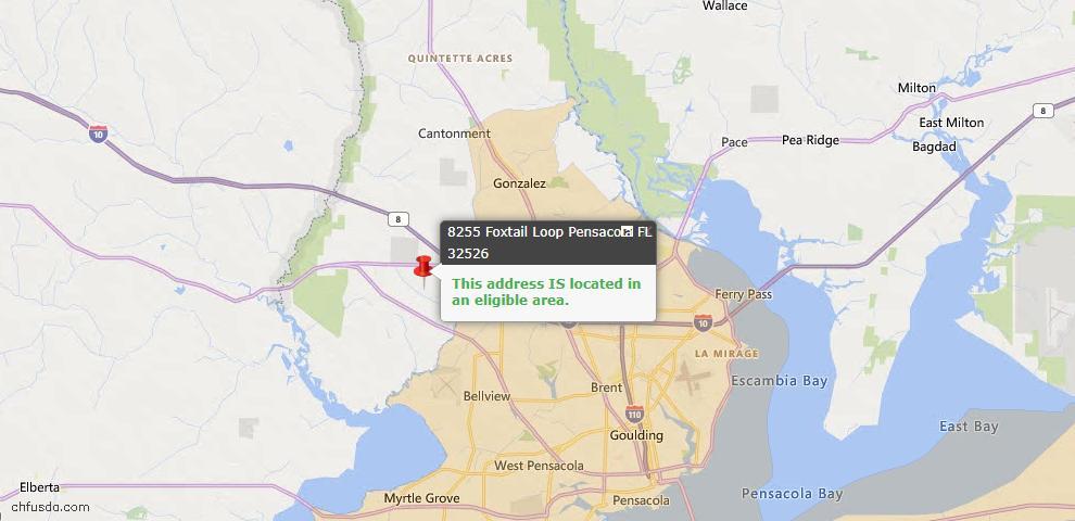 USDA Loan Eligiblity Map - 8255 Foxtail Loop, Pensacola, FL 32526