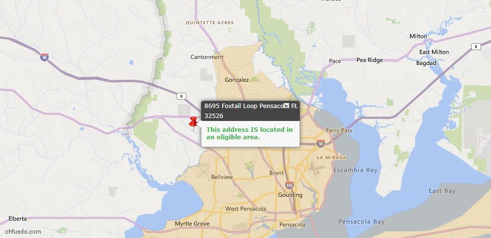 USDA Loan Eligiblity Map - 8695 Foxtail Loop, Pensacola, FL 32526