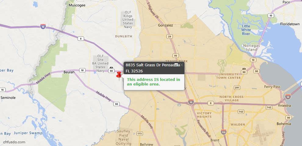 USDA Loan Eligiblity Map - 8835 Salt Grass Dr, Pensacola, FL 32526