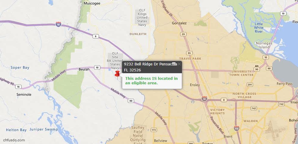 USDA Loan Eligiblity Map - 9232 Bell Ridge Dr, Pensacola, FL 32526