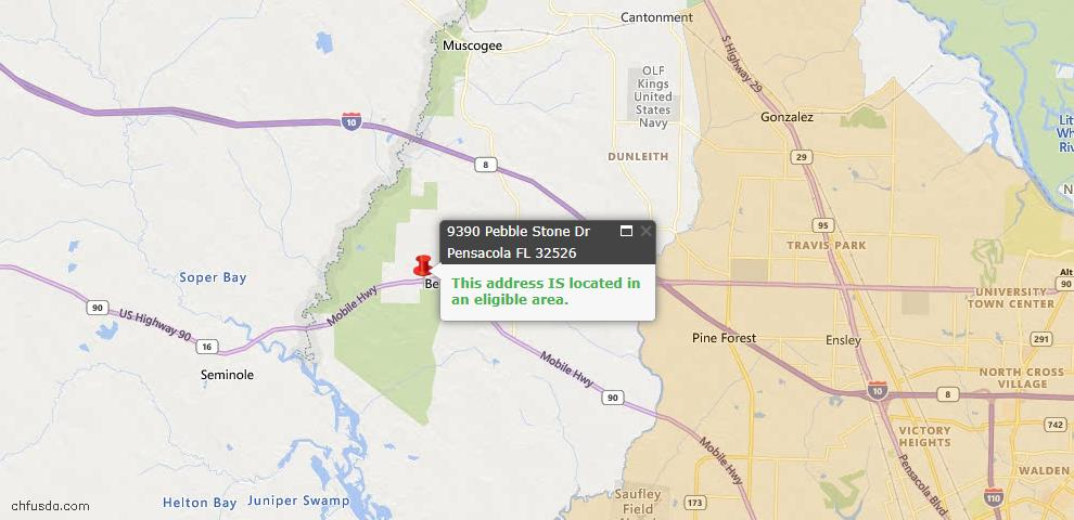 USDA Loan Eligiblity Map - 9390 Pebble Stone Dr, Pensacola, FL 32526