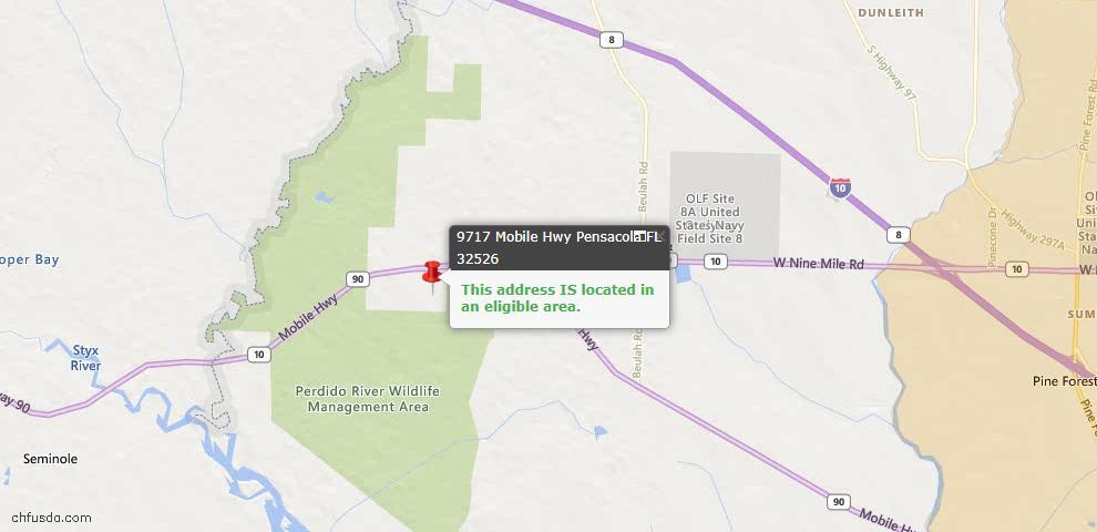 USDA Loan Eligiblity Map - 9717 Mobile Hwy, Pensacola, FL 32526