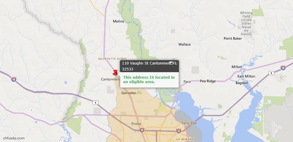 USDA Loan Eligiblity Map - 110 Vaughn St, Cantonment, FL 32533