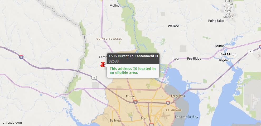 USDA Loan Eligiblity Map - 1506 Durant Ln, Cantonment, FL 32533