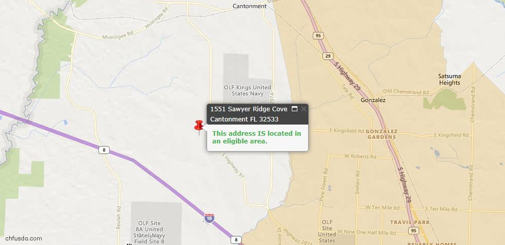 USDA Loan Eligiblity Map - 1551 Sawyers Ridge Cv, Cantonment, FL 32533