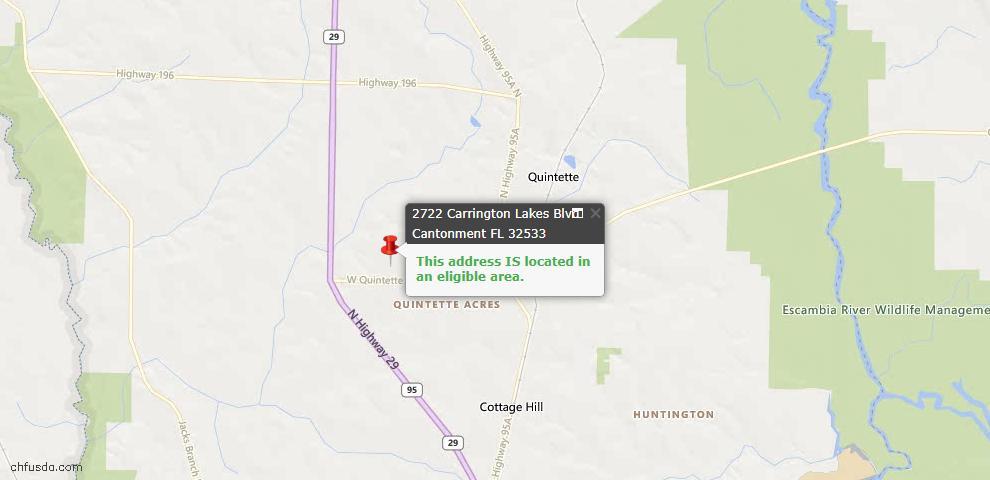 USDA Loan Eligiblity Map - 2722 Carrington Lakes Blvd, Cantonment, FL 32533