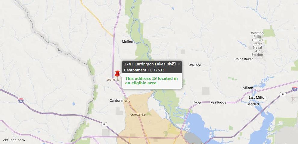 USDA Loan Eligiblity Map - 2741 Carrington Lakes Blvd, Cantonment, FL 32533