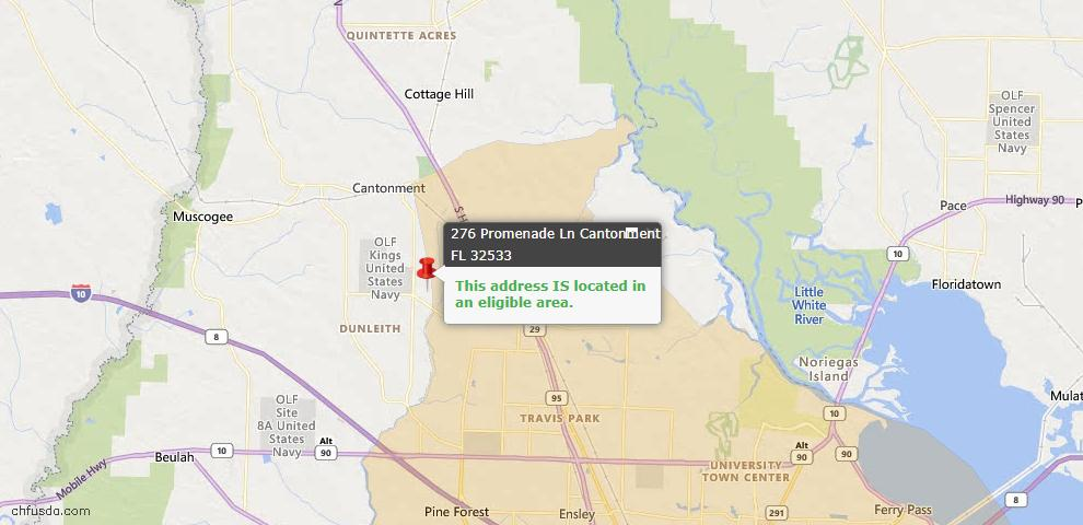 USDA Loan Eligiblity Map - 276 Promenade Ln, Cantonment, FL 32533