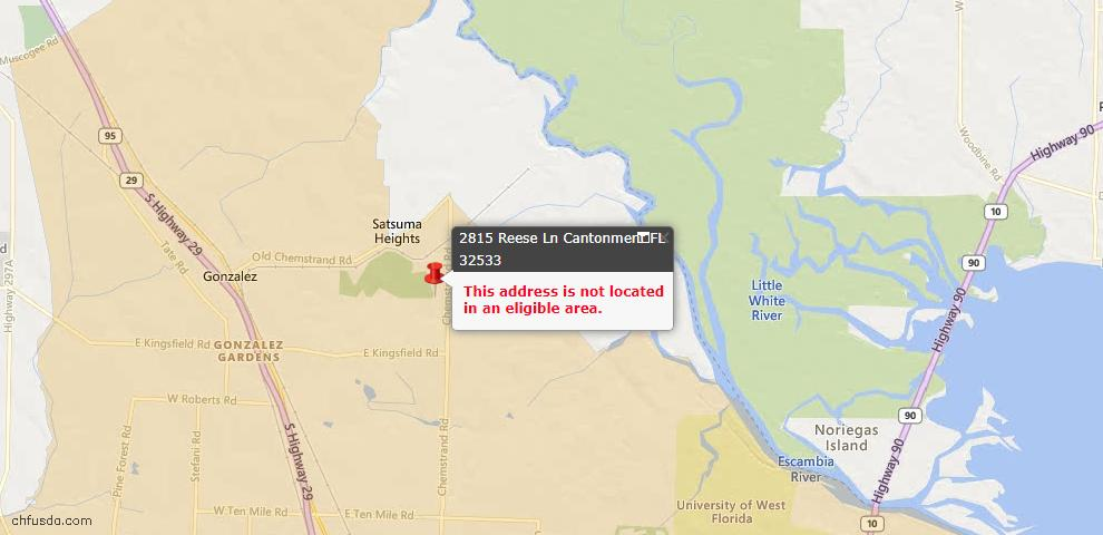 USDA Loan Eligiblity Maps From - Cantonment, FL