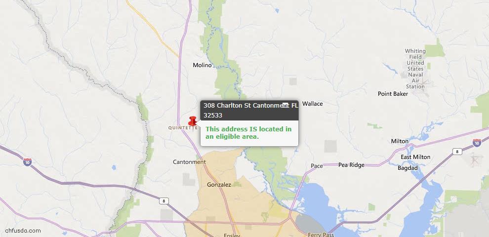 USDA Loan Eligiblity Map - 308 Charlton St, Cantonment, FL 32533
